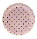 Tallrik- rosa med guldprickar 12 st